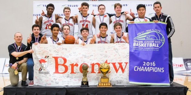 Champs! #4 Brentwood College Take 2016 Junior Boys Provincial Title