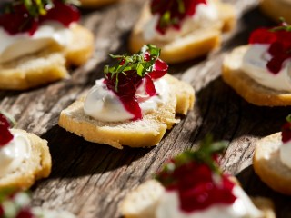 Goats Cheese with Beetroot Relish on a Crostini
