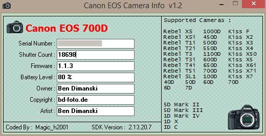 Eos Camera Info - Shutter Count