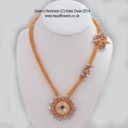 Aslan Necklace made with Duracoat delicas. Beading pattern designed by Katie Dean