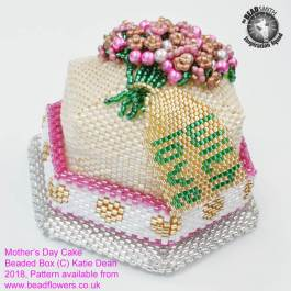 Beaded Cake Box Tutorial and kit for Mothers Day or Birthday, Katie Dean, Beadflowers