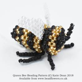 Queen bee beading pattern, Katie Dean, beadflowers