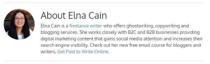 elna cain author bio
