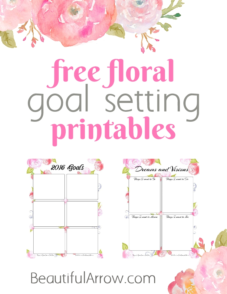 Free Floral Goal Setting Printables