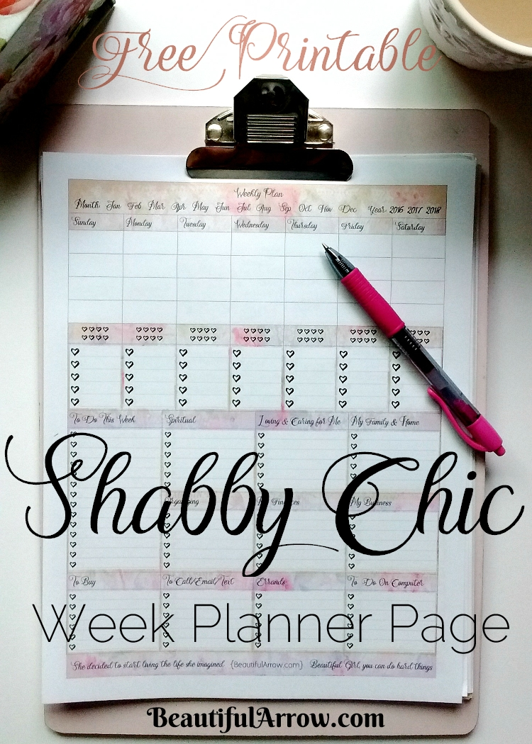 Free Printable Shabby Chic Planner Page!
