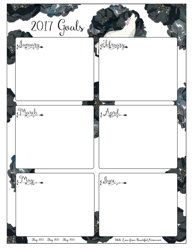 Free Download: White Wolf and Black Roses Goal Worksheets for 2017 - Six Months at a Glance
