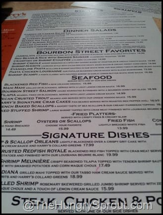 Harry's Gainesville Menu