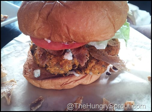 Veggie Burger with Fried Fennel and Blue- B&B Junction