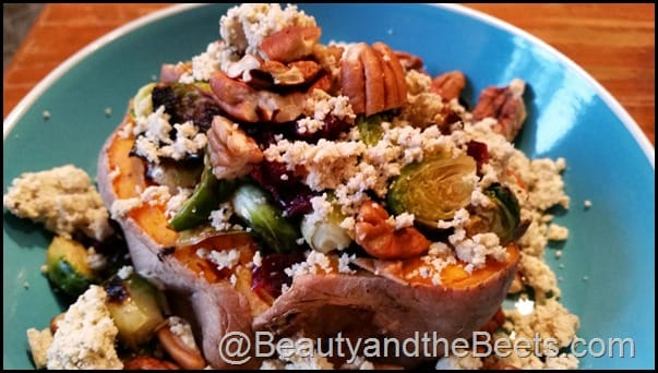 Baked Sweet Potatoes with Brussel Sprouts, Cranberries and Pecans