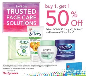 Buy One Get One 50% off on Face Care items at Walgreens