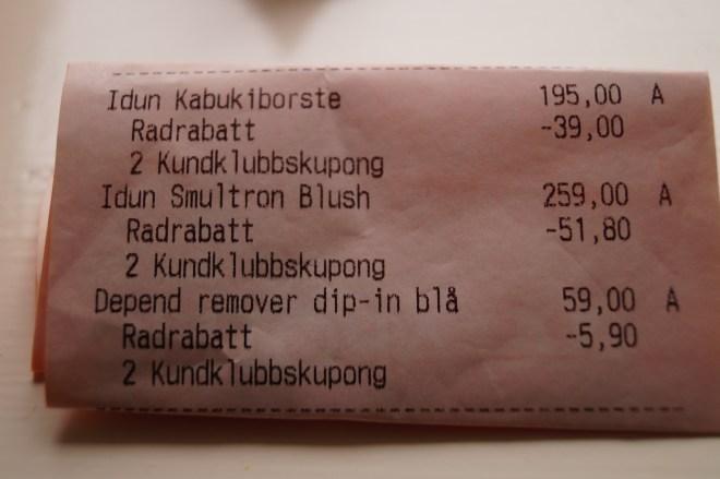 Tre inköp på Kronans Apotek med tre olika rabattkuponger