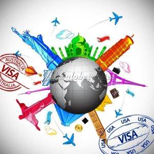 illustration de la terre et de célèbres monuments touristiques représentatifs des capitales mondiales et tampons visas internationaux