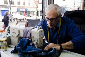 Ahmed Mustafa stitching, Heathway Dry Cleaners. Photo by AF Rodrigues
