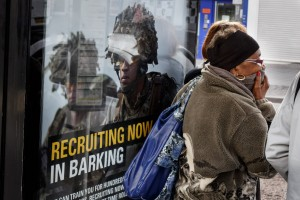 Army recruitment, Heathway bus stop. Photo by Lewis Inman