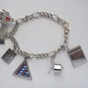 back to school, sterling silver, charm bracelet, vintage charms, enamel charms, teacher gifts