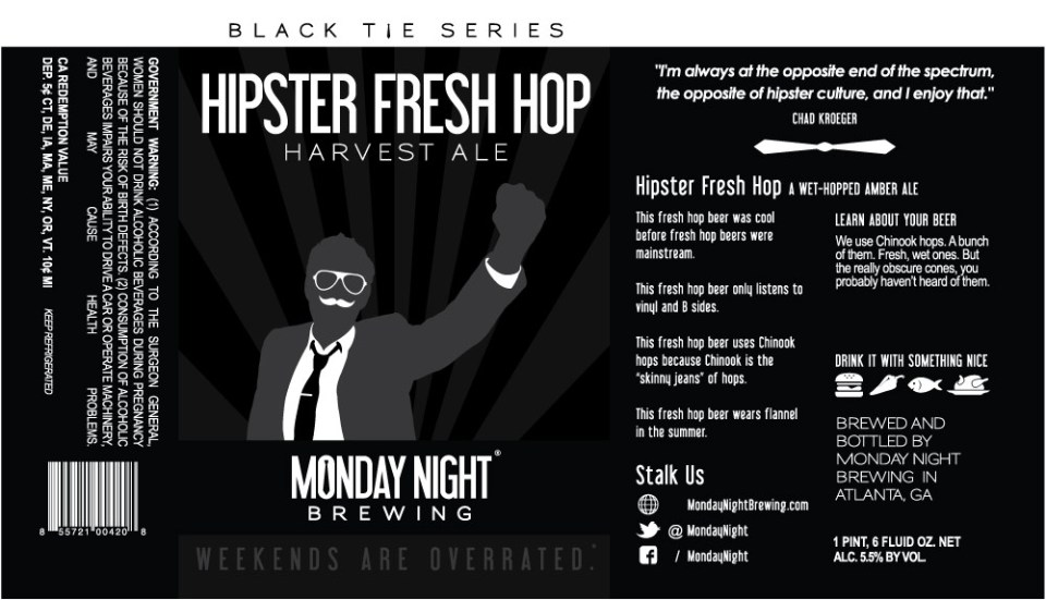 Monday Night Hipster Fresh Hop Harvest Ale