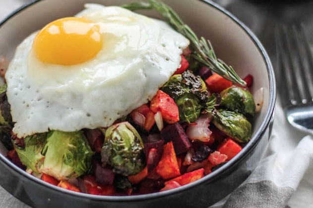Breakfast Bowl - Rosemary Roasted Seasonal Veggies with Dijon, topped with a Sunnyside Egg
