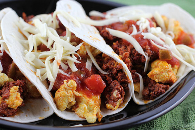 Tex-Mex style Breakfast Tacos - Potato, Egg, Cheese, Chorizo, wrapped in a flour tortilla