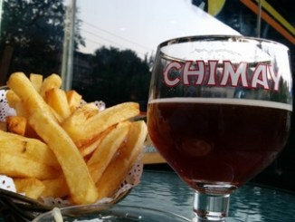 Belgian fries and Chimay Red at Beer Mania Beijing China.jpg