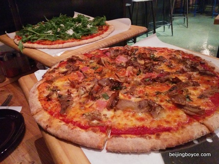 2015 Comfort Foods Beijing China Smoked Ham and Mushroom Pizza at Gung Ho