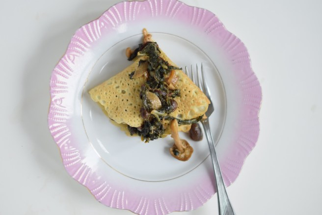 These Savory Crepes with Beech Mushrooms and Rainbow Chard are utterly delicious! They look incredible, taste amazing and are so easy to make!