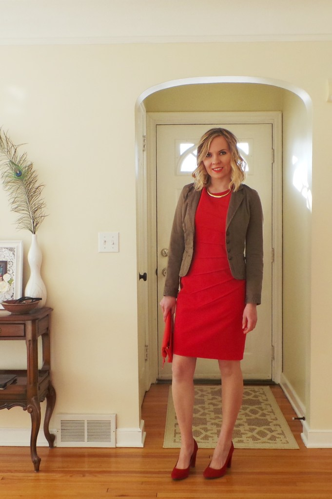 Red-dress-brown-blazer-gold-necklace