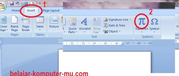 cara menampilkan toolbar rumus matematika microsoft word 2007 - 2010