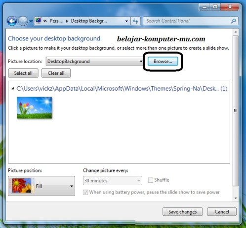 cara mengganti wallpaper background windows 7 seven