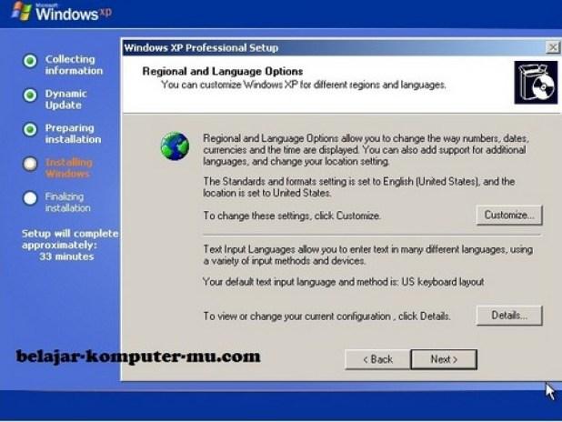 gambar jendela setup menentukan regional dan bahasa