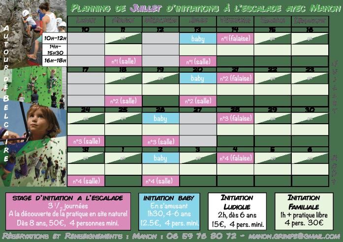 planning initiations de Juillet 2017