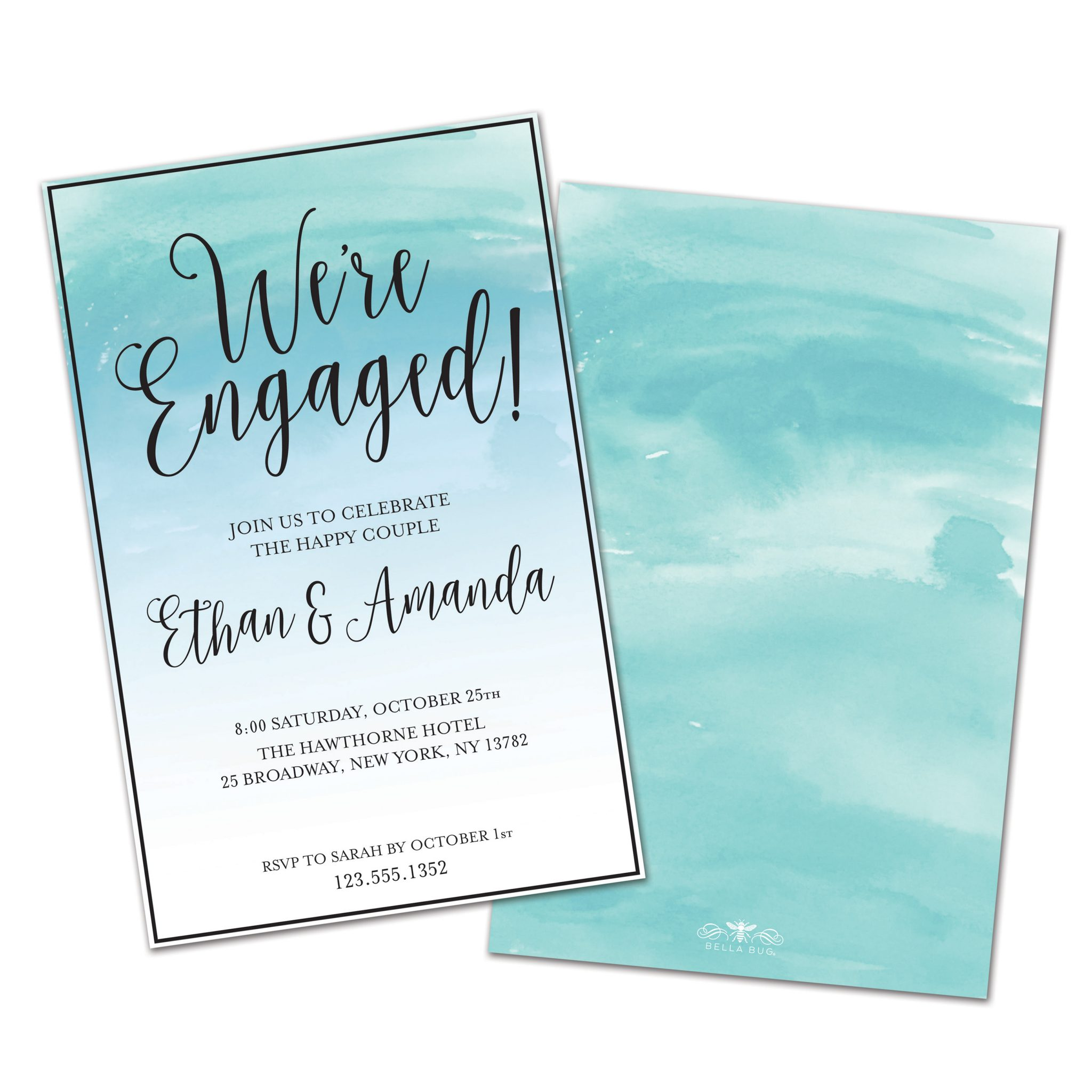 Frantic Watercolor Stripe Personalized Engagement Party Invitations Blue Green Watercolor Personalized Engagement Party Invitations Engagement Party Invitations Ideas Engagement Party Invitations Walm invitations Engagement Party Invitations