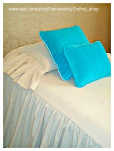 brandy linen bedspread with turquoise pillow wb