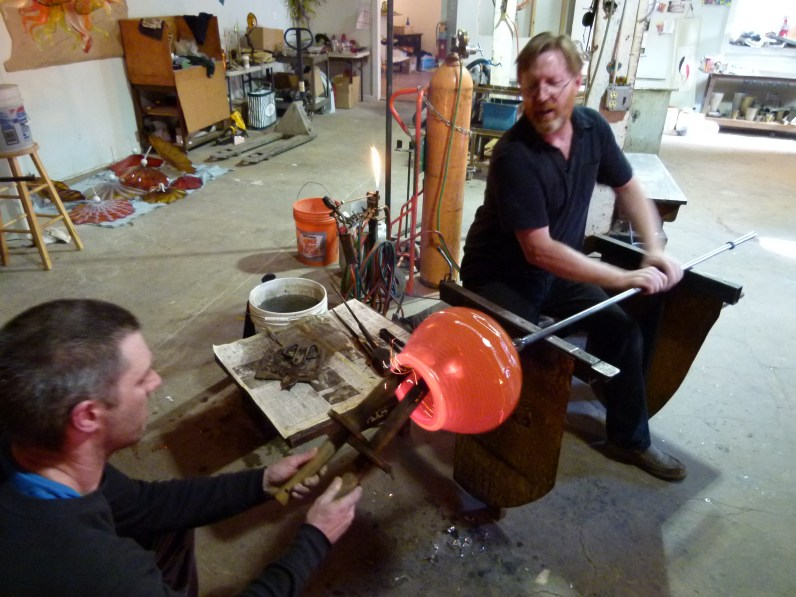 Bob spinning a bowl at Belle Mead Hot Glass