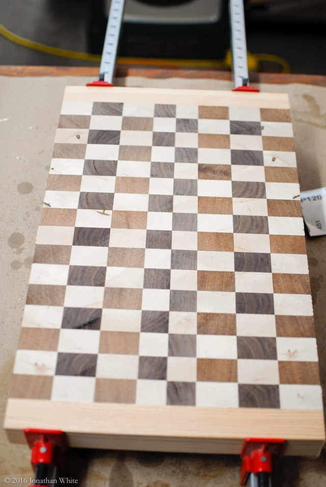 I cut some scrap doug fir to the same thickness as the board, and did a test (dry) clamping.
