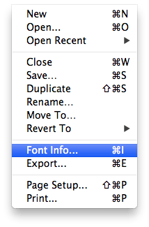 Choose font info in glyphs mini