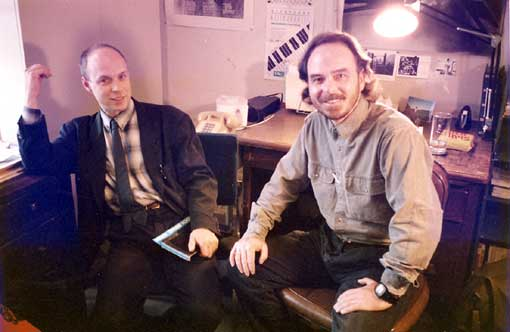 Brian Eno and Ben | KPFA | Photo: Charles Amirkhanian | 1987