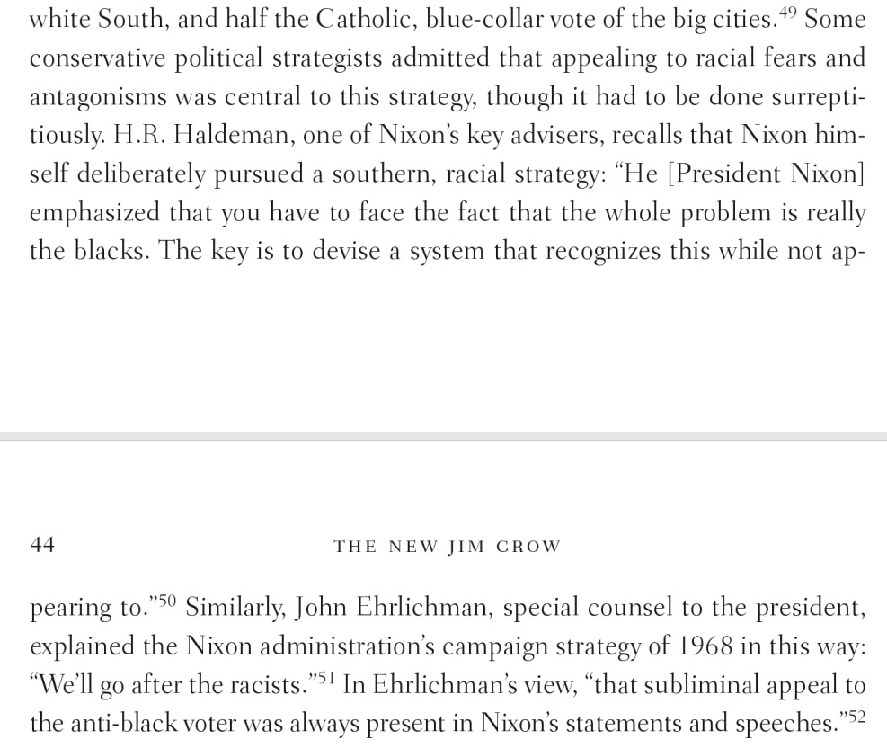 Page 44 from Michelle Alexander's book The New Jim Crow