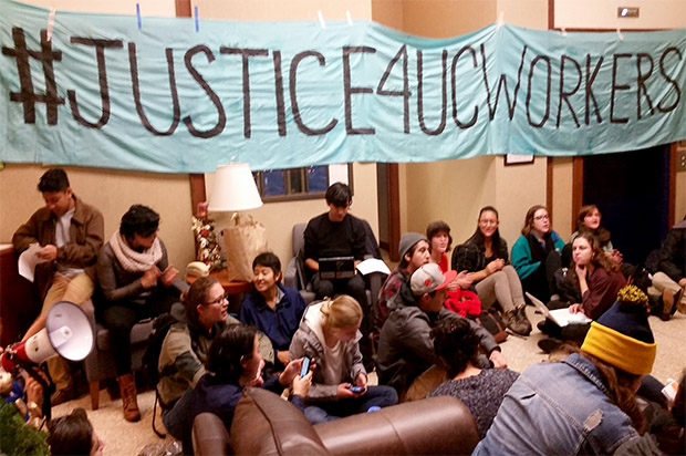 """""""Our tuition dollars fund racism and injustice"""": California students protest university labor outsourcing"""