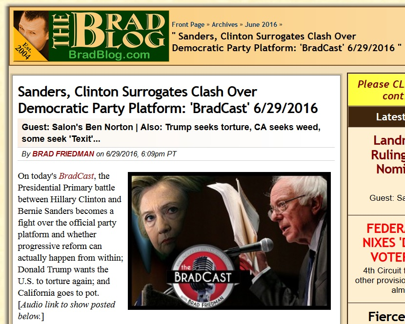 Democratic Party platform, Sanders, Clinton, and 3rd parties — Interview on Brad Blog