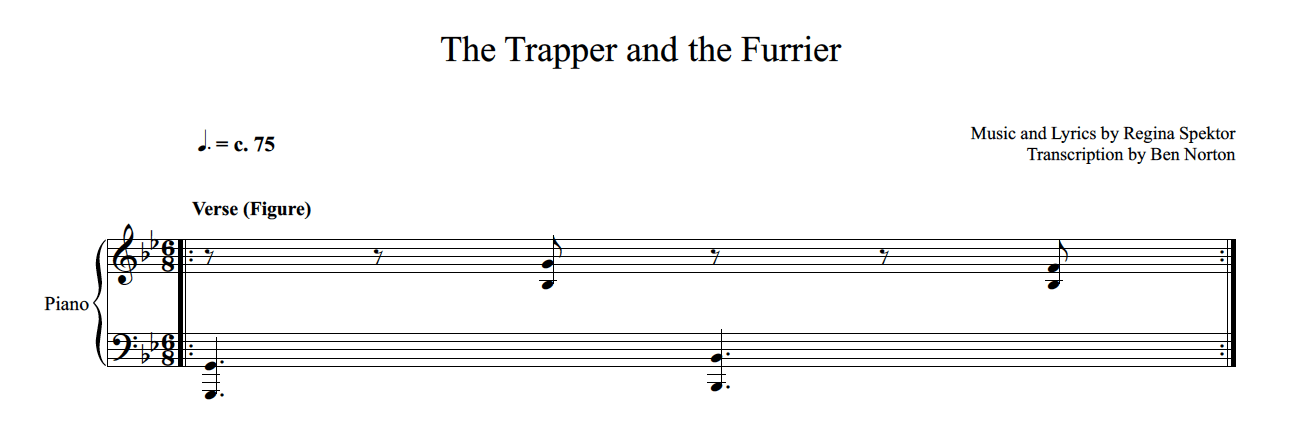"Asymmetric phrase groupings and meter in Regina Spektor's ""The Trapper and the Furrier"""