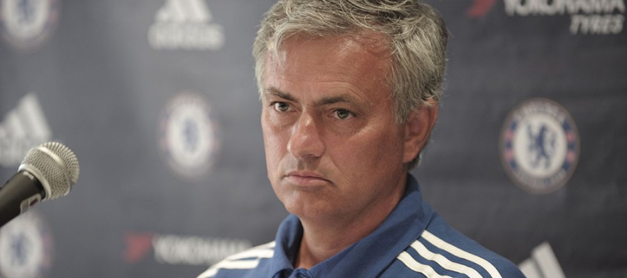 Chelsea manager Jose Mourinho speaks during a press conference in Montreal, Canada on July 21, 2015. Mourinho has backed Didier Drogba to make a success of a move to Major League Soccer after reports linking the Blues legend to a career swansong in North America. Several MLS teams are reportedly in the hunt for Drogba, with the Montreal Impact and Chicago Fire the front-runners after opening talks with the 37-year-old Ivory Coast striker. AFP PHOTO/CLEMENT SABOURIN