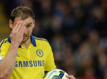 """Chelsea's Serbian defender Branislav Ivanovic touches his eye during the English Premier League football match between Leicester City and Chelsea at King Power Stadium in Leicester, central England on April 29, 2015.  AFP PHOTO / OLI SCARFF  RESTRICTED TO EDITORIAL USE. No use with unauthorized audio, video, data, fixture lists, club/league logos or """"live"""" services. Online in-match use limited to 45 images, no video emulation. No use in betting, games or single club/league/player publications."""