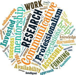 Students in the chemical and biomolecular engineering department at UC Berkeley were asked to list the top three traits they look for in a research mentor. Among the most common answers were good communication, clear expectations, and a focus on mentorship. Word size corresponds to frequency in responses. Credit: Jo Downes Bairzin, created with Tagxedo.com.