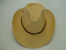 Western Natural Paper Straw Cowboy Hat with Leather Hat Band