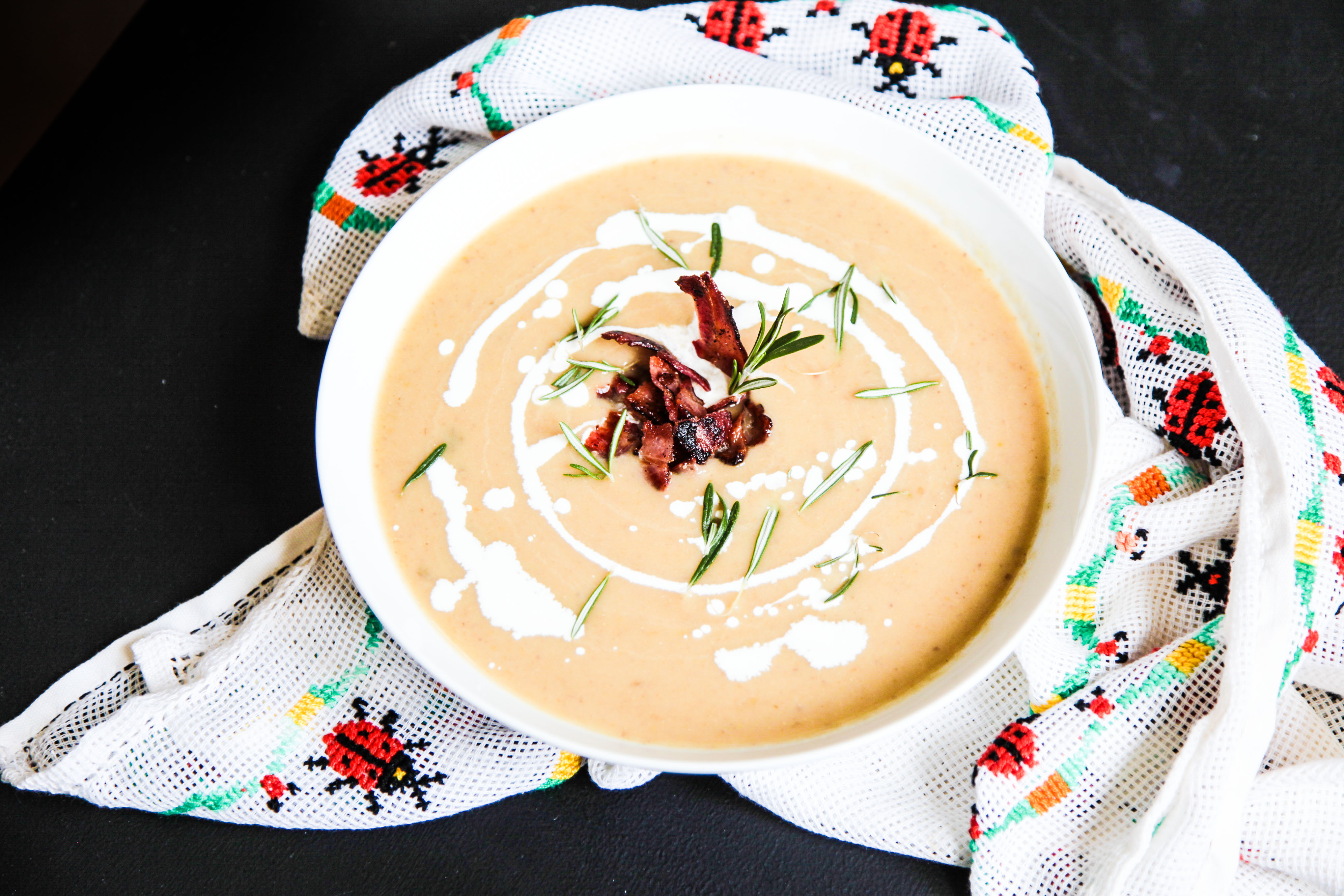 Parsnip Chestnut Soup with Apples and Bacon - Berries and Spice