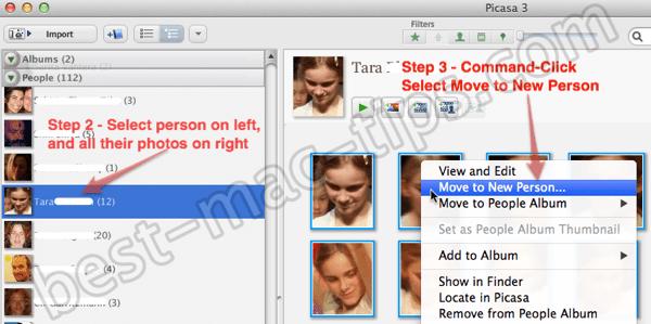 Picasa select person