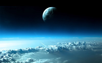 Wallpaper Planet on top of blue clouds 1920x1200 HD Picture, Image