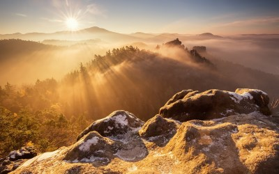 Wallpaper Mountain top, rocks, trees, sunrise, fog 1920x1200 HD Picture, Image