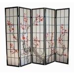 Raumtrenner Homestyle4u 5 fach Paravent Raumteiler - Holz Trennwand Shoji in schwarz mit Kirschblüten
