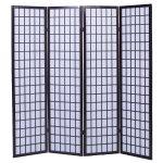 FDS Paravent Holz Trennwand Umkleide Sichtschutz 4 fach Raumteiler Raumtrenner Wand Spanische Wand